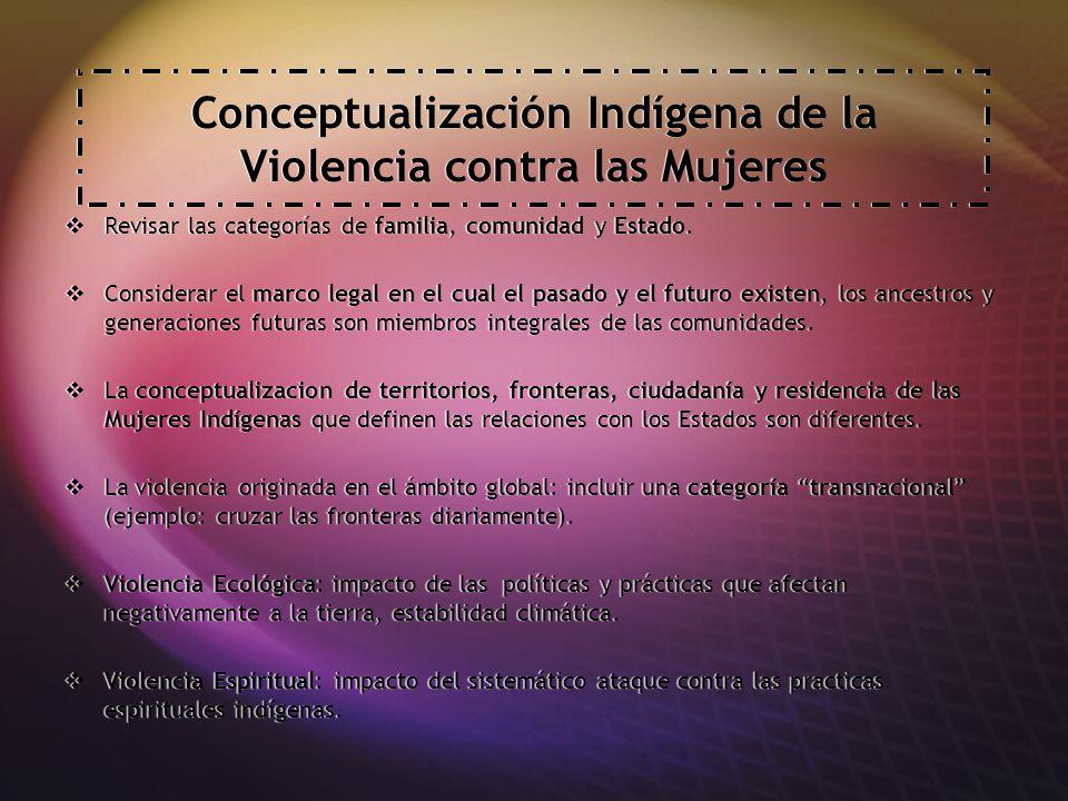 Conceptualización Indígena de la Violencia contra las Mujeres Revisar las categorías de familia, comunidad y Estado.