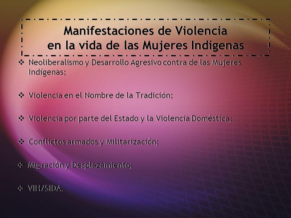Manifestaciones de Violencia en la vida de las Mujeres Indígenas Neoliberalismo y Desarrollo Agresivo contra de las Mujeres Indígenas; Violencia en el Nombre de la Tradición; Violencia por parte del Estado y la Violencia Doméstica; Conflictos armados y Militarización; Migración y Desplazamiento; VIH/SIDA.