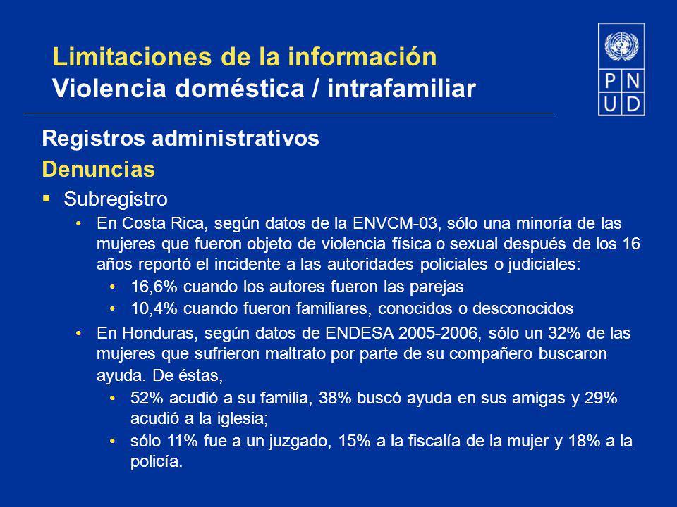 Limitaciones de la información Violencia doméstica / intrafamiliar Registros administrativos Denuncias Subregistro En Costa Rica, según datos de la EN