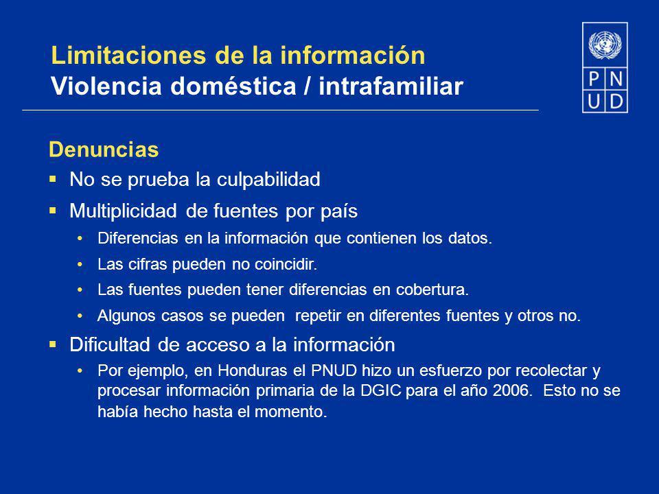 Limitaciones de la información Violencia doméstica / intrafamiliar Denuncias No se prueba la culpabilidad Multiplicidad de fuentes por país Diferencia