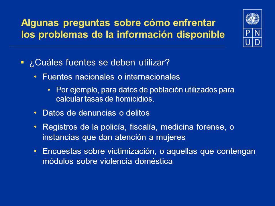 Algunas preguntas sobre cómo enfrentar los problemas de la información disponible ¿Cuáles fuentes se deben utilizar? Fuentes nacionales o internaciona