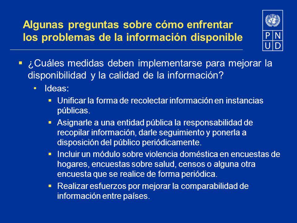 Algunas preguntas sobre cómo enfrentar los problemas de la información disponible ¿Cuáles medidas deben implementarse para mejorar la disponibilidad y
