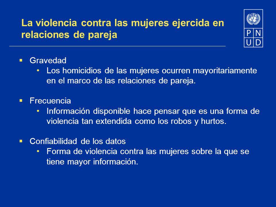 La violencia contra las mujeres ejercida en relaciones de pareja Gravedad Los homicidios de las mujeres ocurren mayoritariamente en el marco de las re