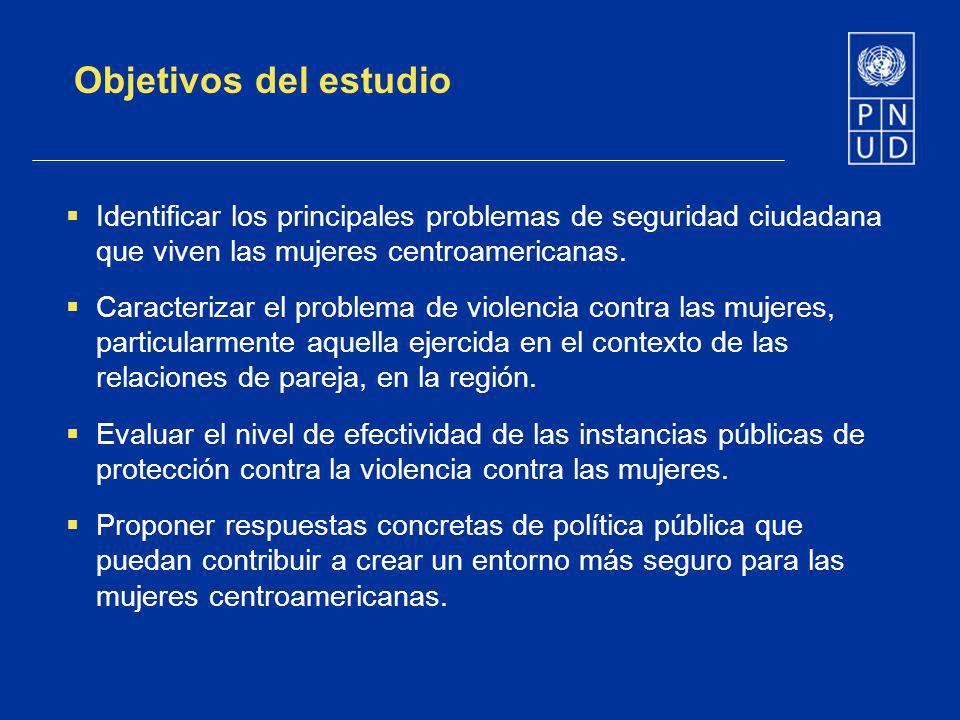 Objetivos del estudio Identificar los principales problemas de seguridad ciudadana que viven las mujeres centroamericanas. Caracterizar el problema de