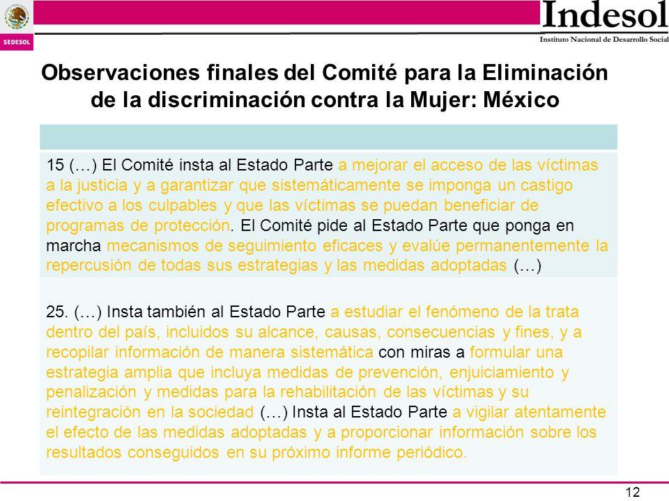 12 Observaciones finales del Comité para la Eliminación de la discriminación contra la Mujer: México 15 (…) El Comité insta al Estado Parte a mejorar