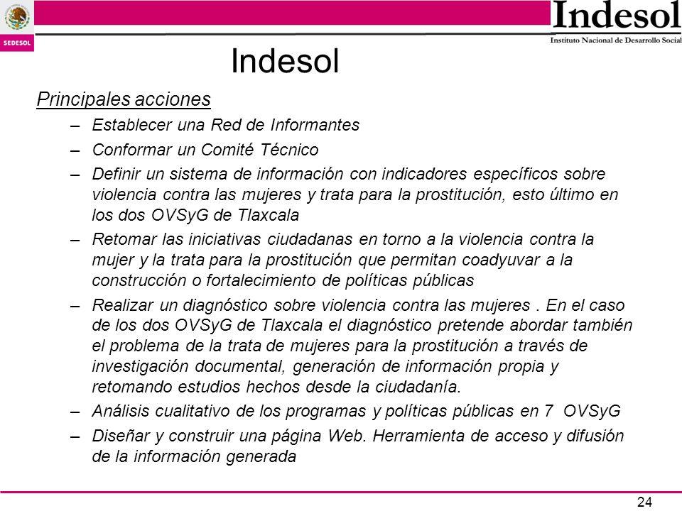 24 Indesol Principales acciones –Establecer una Red de Informantes –Conformar un Comité Técnico –Definir un sistema de información con indicadores esp