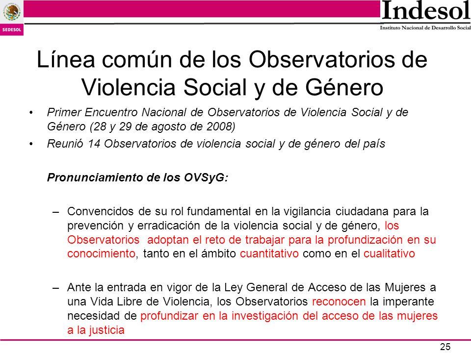 25 Línea común de los Observatorios de Violencia Social y de Género Primer Encuentro Nacional de Observatorios de Violencia Social y de Género (28 y 2