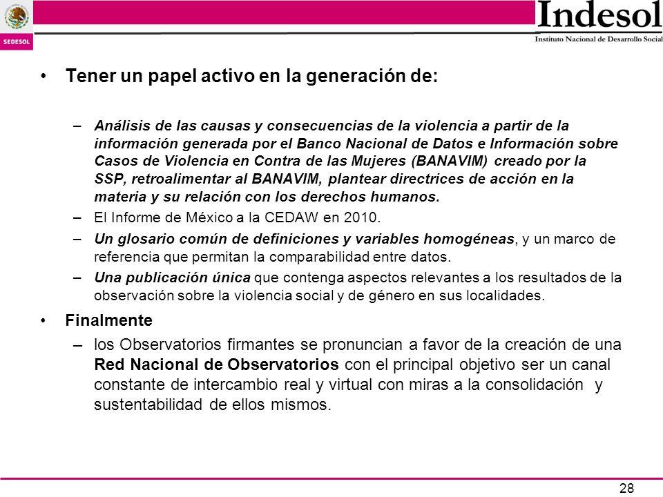28 Tener un papel activo en la generación de: –Análisis de las causas y consecuencias de la violencia a partir de la información generada por el Banco