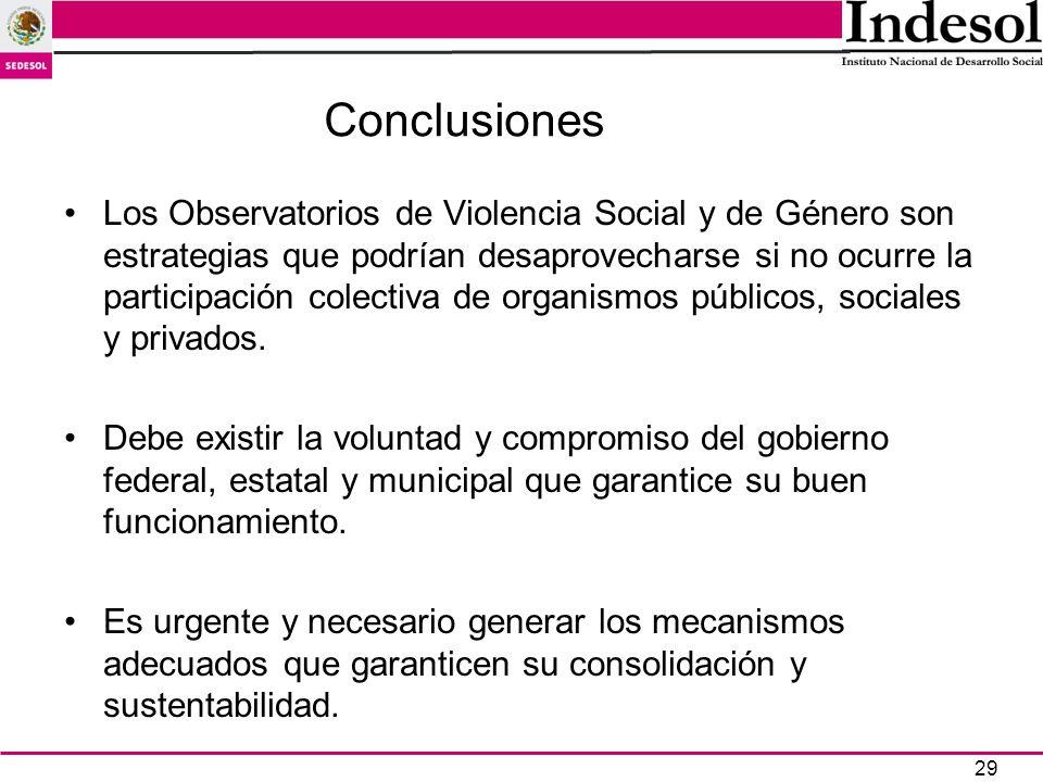 29 Conclusiones Los Observatorios de Violencia Social y de Género son estrategias que podrían desaprovecharse si no ocurre la participación colectiva