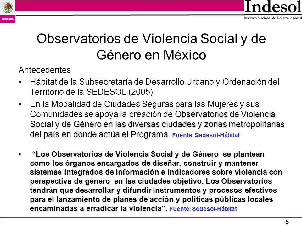 16 Observatorios de Violencia Social y de Género impulsados por el Programa Hábitat de la Sedesol (2005-2006) Entidad FederativaNombre del ObservatorioMunicipios que abarca Aguascalientes1.