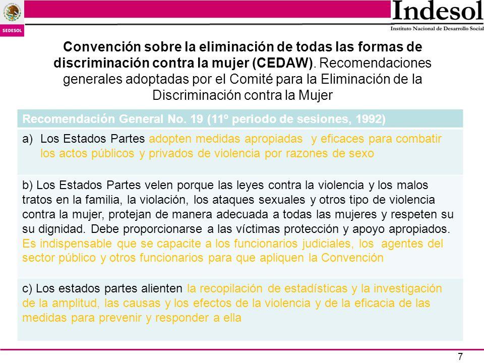 7 Convención sobre la eliminación de todas las formas de discriminación contra la mujer (CEDAW). Recomendaciones generales adoptadas por el Comité par