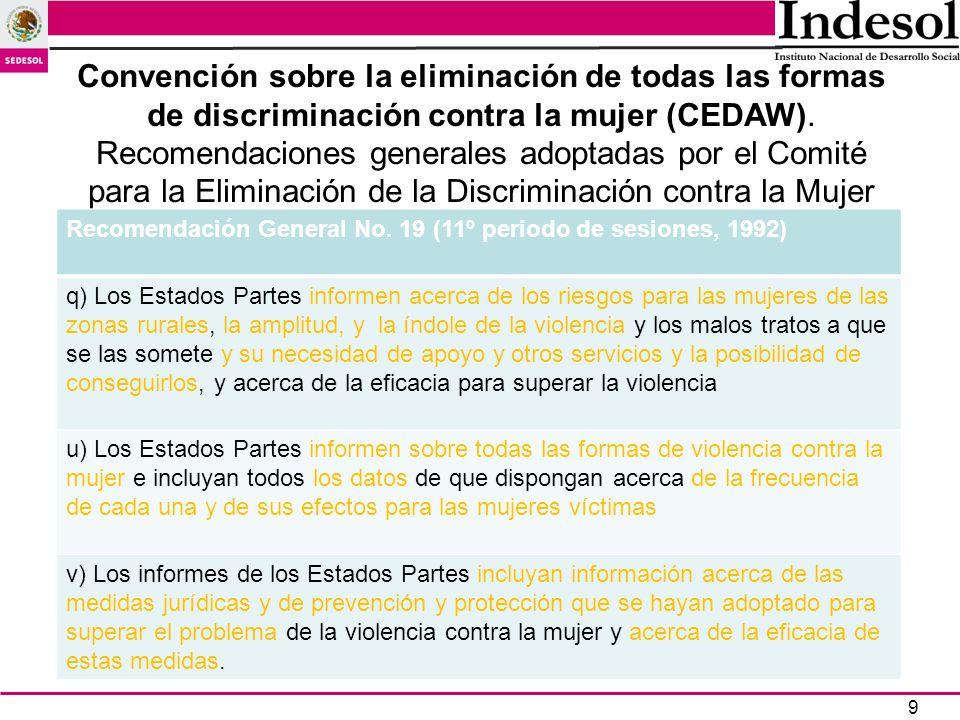 9 Recomendación General No. 19 (11º periodo de sesiones, 1992) q) Los Estados Partes informen acerca de los riesgos para las mujeres de las zonas rura