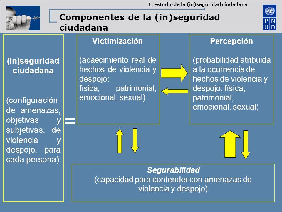 (In)seguridad ciudadana (configuración de amenazas, objetivas y subjetivas, de violencia y despojo, para cada persona) Victimización (acaecimiento real de hechos de violencia y despojo: física, patrimonial, emocional, sexual) Percepción (probabilidad atribuida a la ocurrencia de hechos de violencia y despojo: física, patrimonial, emocional, sexual) Segurabilidad (capacidad para contender con amenazas de violencia y despojo) = Componentes de la (in)seguridad ciudadana El estudio de la (in)seguridad ciudadana