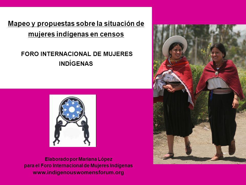 Elaborado por Mariana López para el Foro Internacional de Mujeres Indígenas www.indigenouswomensforum.org Mapeo y propuestas sobre la situación de muj