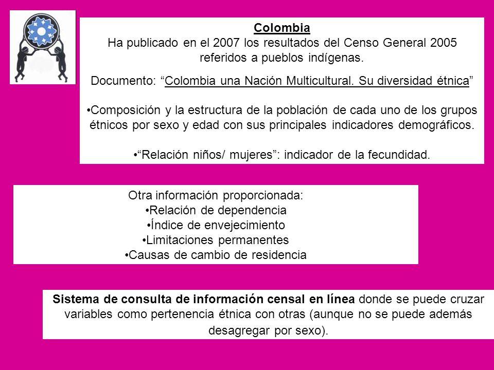 Colombia Ha publicado en el 2007 los resultados del Censo General 2005 referidos a pueblos indígenas. Documento: Colombia una Nación Multicultural. Su