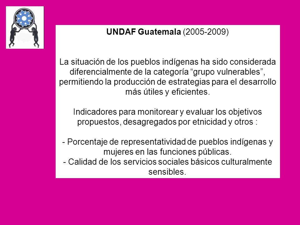 UNDAF Guatemala (2005-2009) La situación de los pueblos indígenas ha sido considerada diferencialmente de la categoría grupo vulnerables, permitiendo