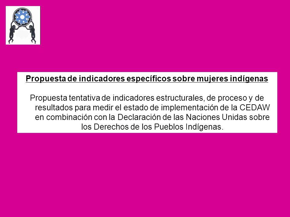 Propuesta de indicadores específicos sobre mujeres indígenas Propuesta tentativa de indicadores estructurales, de proceso y de resultados para medir e