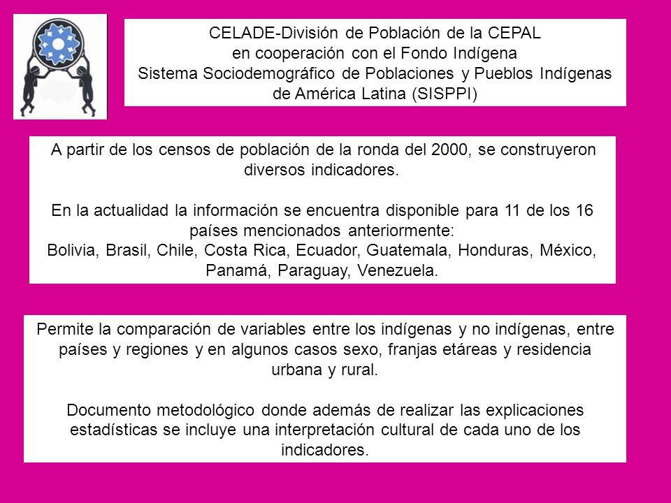 CELADE-División de Población de la CEPAL en cooperación con el Fondo Indígena Sistema Sociodemográfico de Poblaciones y Pueblos Indígenas de América L