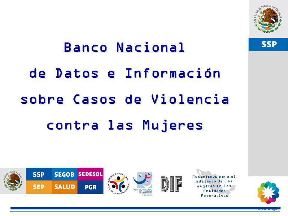 SSP Banco Nacional de Datos e Información sobre Casos de Violencia contra las Mujeres Mecanismos para el adelanto de las mujeres en las Entidades Fede