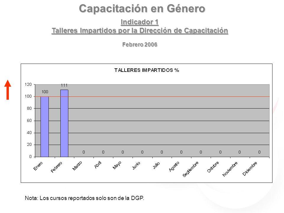 Capacitación en Género Indicador 1 Talleres Impartidos por Dirección General Febrero 2006