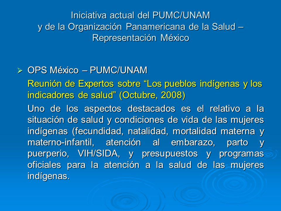 Iniciativa actual del PUMC/UNAM y de la Organización Panamericana de la Salud – Representación México OPS México – PUMC/UNAM OPS México – PUMC/UNAM Re