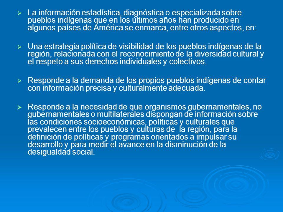 La información estadística, diagnóstica o especializada sobre pueblos indígenas que en los últimos años han producido en algunos países de América se