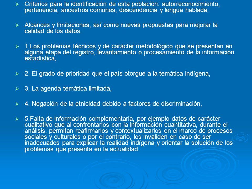 Criterios para la identificación de esta población: autorreconocimiento, pertenencia, ancestros comunes, descendencia y lengua hablada. Alcances y lim