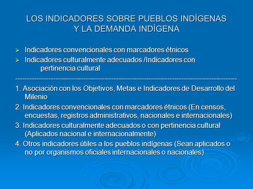LOS INDICADORES SOBRE PUEBLOS INDÍGENAS Y LA DEMANDA INDÍGENA Indicadores convencionales con marcadores étnicos Indicadores convencionales con marcado