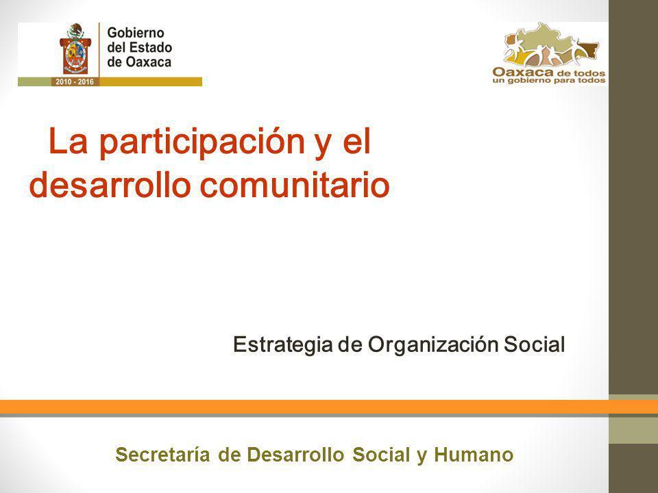 Estrategia de Organización Social La participación y el desarrollo comunitario Secretaría de Desarrollo Social y Humano