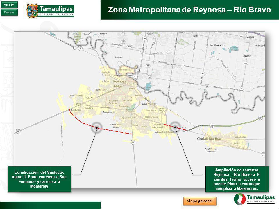 Zona Metropolitana de Matamoros Proyecto Integral de Agua y Saneamiento (PIAS) Proyecto Integral de Agua y Saneamiento (PIAS) Centro Cultural Matamoros Paseo de los Esteros (Parque El Laguito) Paseo de los Esteros (Parque El Laguito) Mapa general Mapa ZM Programa Ampliación y modernización de la carretera Matamoros – Valle Hermoso (Sendero Nacional) Ampliación y modernización de la carretera Matamoros – Valle Hermoso (Sendero Nacional)