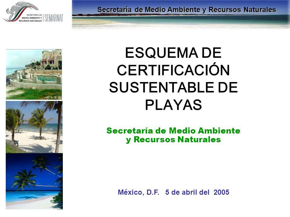ESQUEMA DE CERTIFICACIÓN SUSTENTABLE DE PLAYAS Secretaría de Medio Ambiente y Recursos Naturales México, D.F. 5 de abril del 2005 Secretaría de Medio