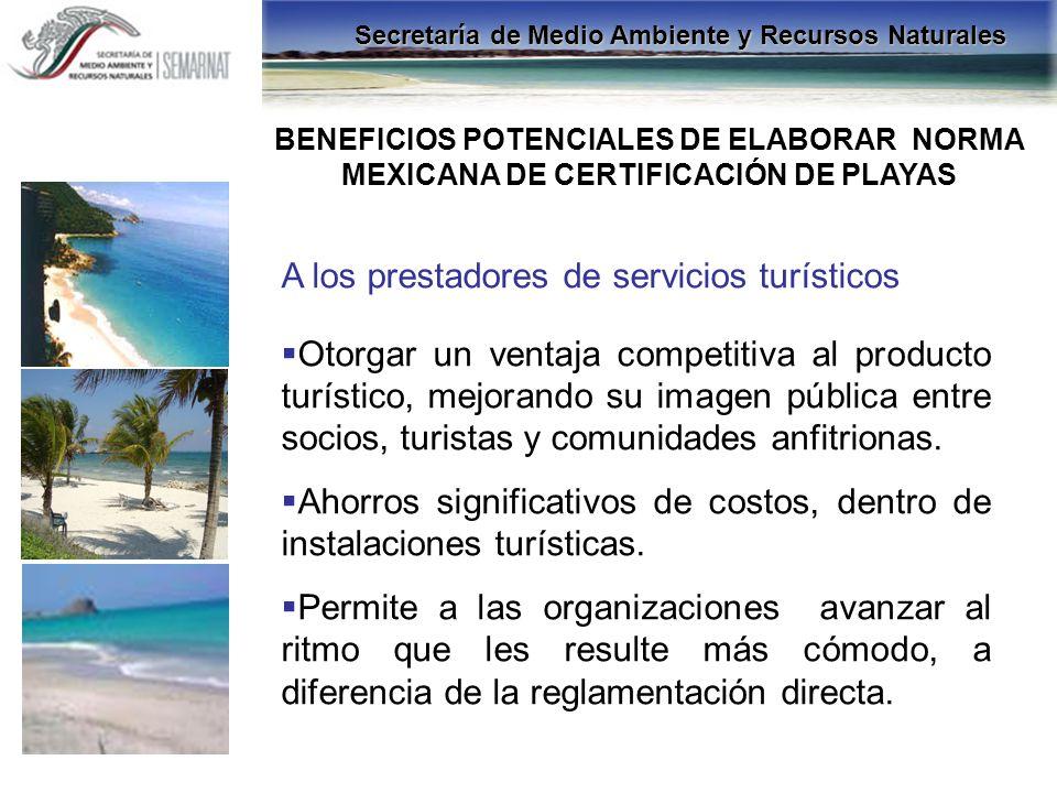 A los prestadores de servicios turísticos Otorgar un ventaja competitiva al producto turístico, mejorando su imagen pública entre socios, turistas y c