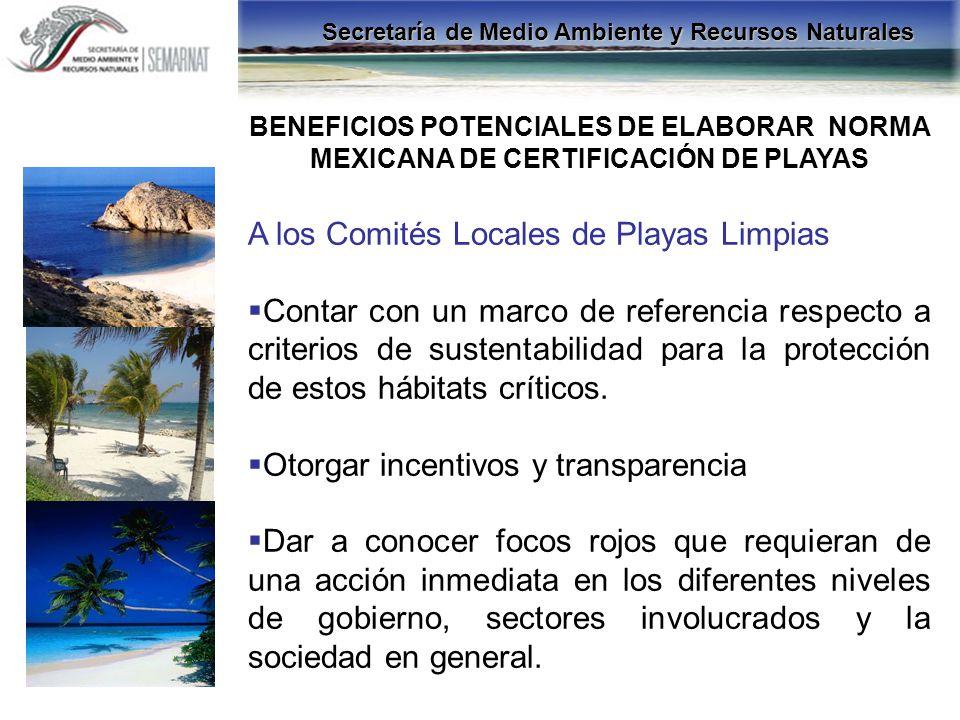 A los Comités Locales de Playas Limpias Contar con un marco de referencia respecto a criterios de sustentabilidad para la protección de estos hábitats
