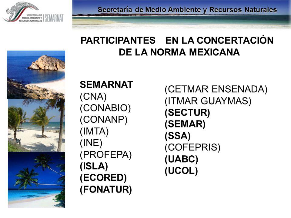 PARTICIPANTES EN LA CONCERTACIÓN DE LA NORMA MEXICANA SEMARNAT (CNA) (CONABIO) (CONANP) (IMTA) (INE) (PROFEPA) (ISLA) (ECORED) (FONATUR) (CETMAR ENSEN