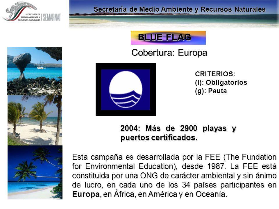BANDERA AZUL ECOLÓGICA Cobertura: Costa Rica 2003: 56 playas certificadas.