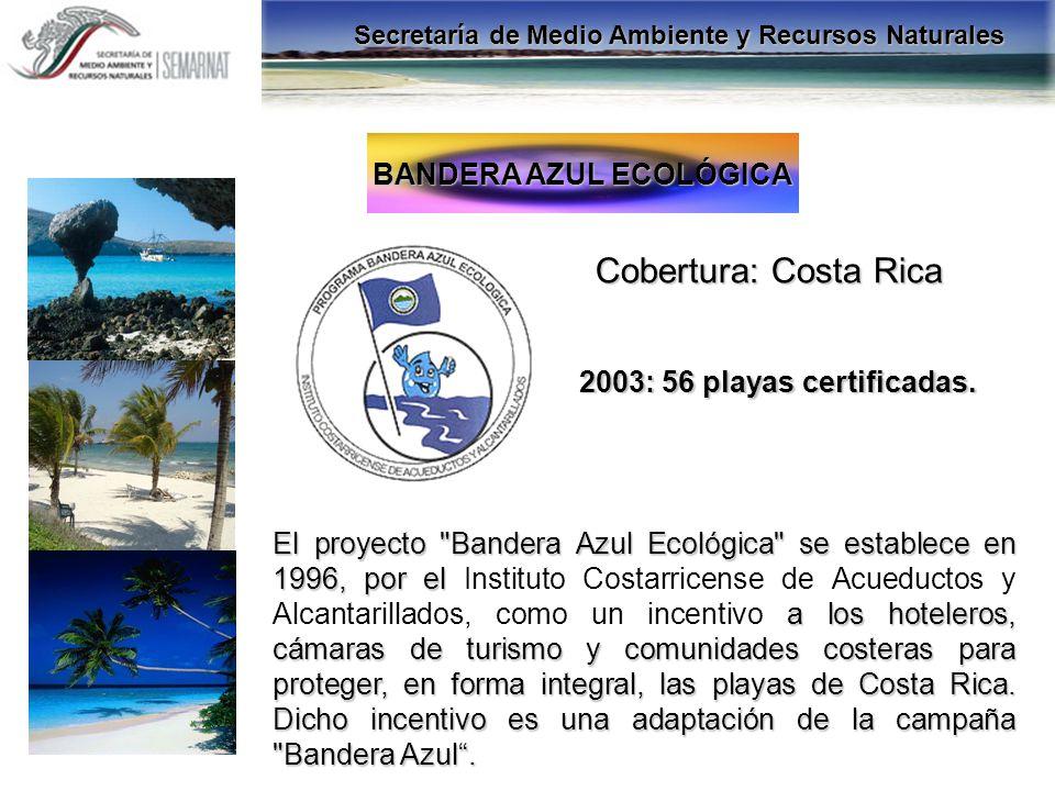 BANDERA AZUL ECOLÓGICA Cobertura: Costa Rica 2003: 56 playas certificadas. El proyecto