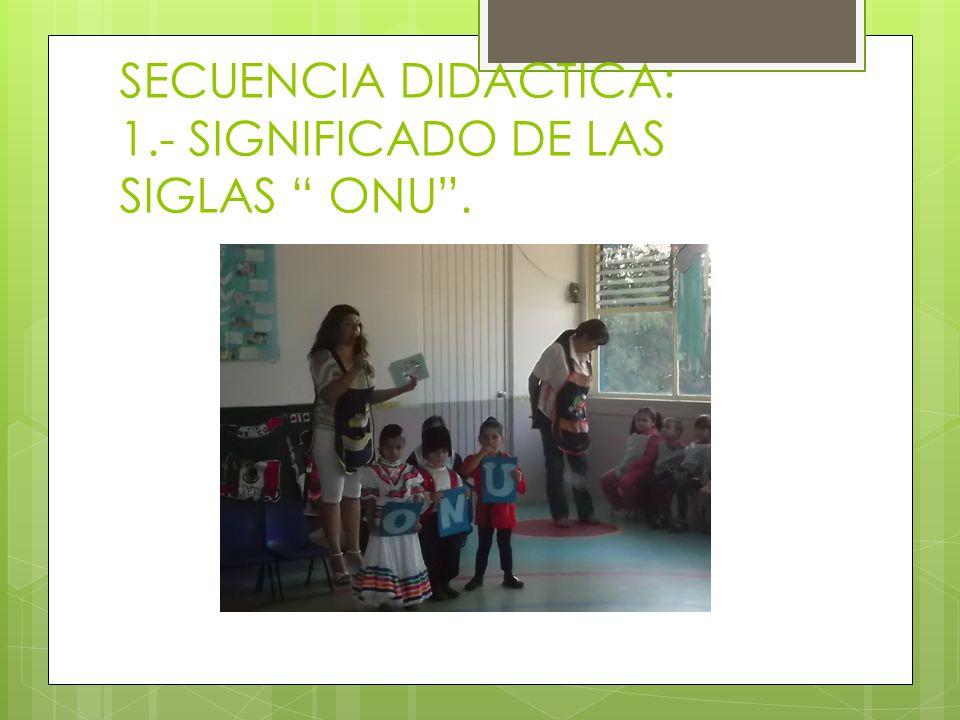 SECUENCIA DIDACTICA: 1.- SIGNIFICADO DE LAS SIGLAS ONU.