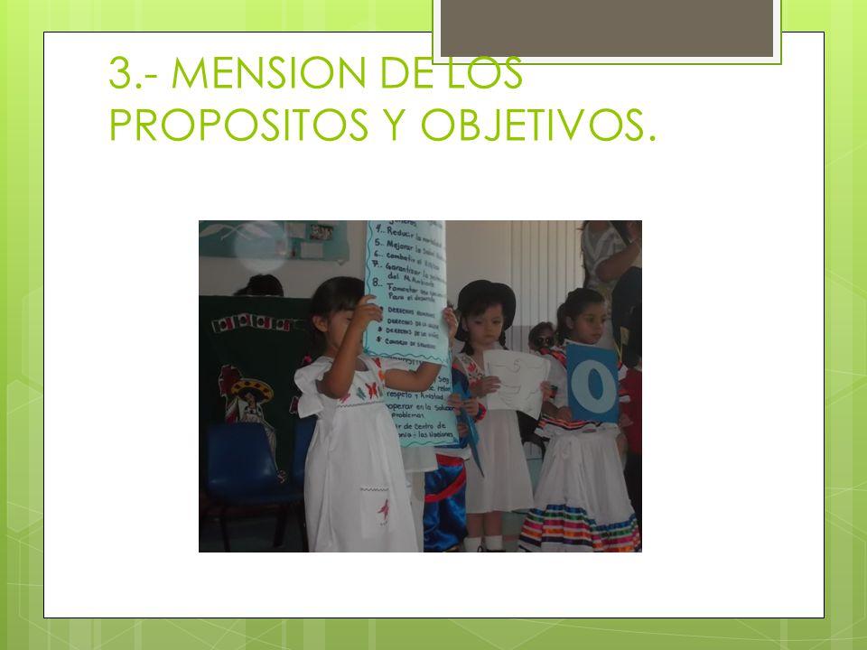 3.- MENSION DE LOS PROPOSITOS Y OBJETIVOS.