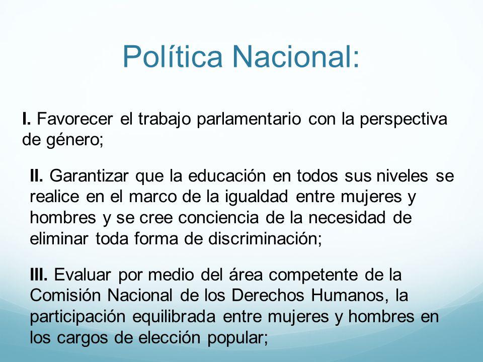 I. Favorecer el trabajo parlamentario con la perspectiva de género; III. Evaluar por medio del área competente de la Comisión Nacional de los Derechos