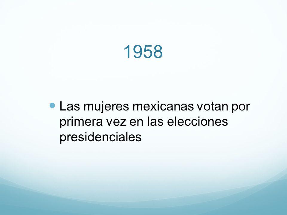 1958 Las mujeres mexicanas votan por primera vez en las elecciones presidenciales