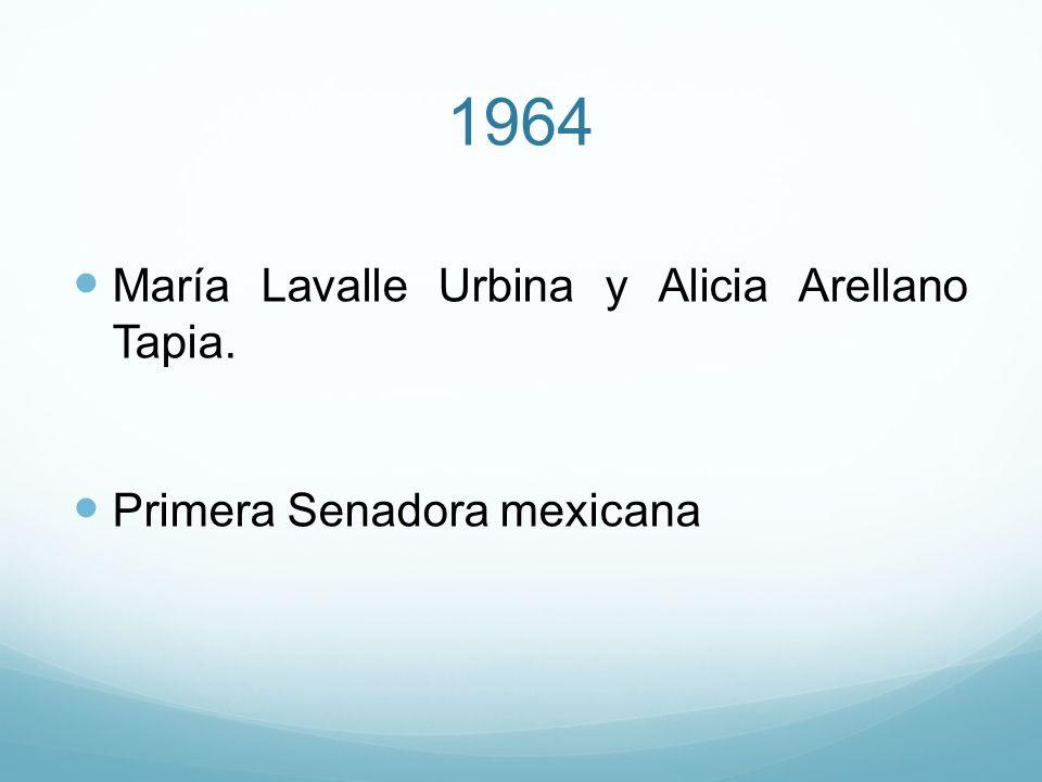 1964 María Lavalle Urbina y Alicia Arellano Tapia. Primera Senadora mexicana