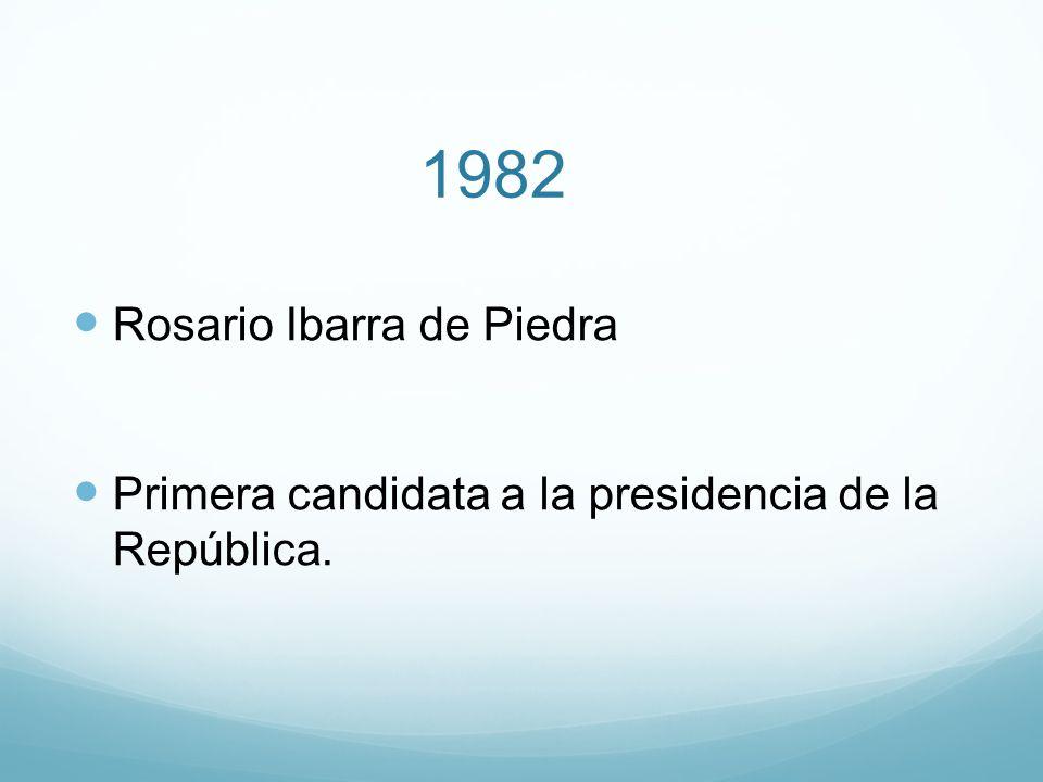 1982 Rosario Ibarra de Piedra Primera candidata a la presidencia de la República.