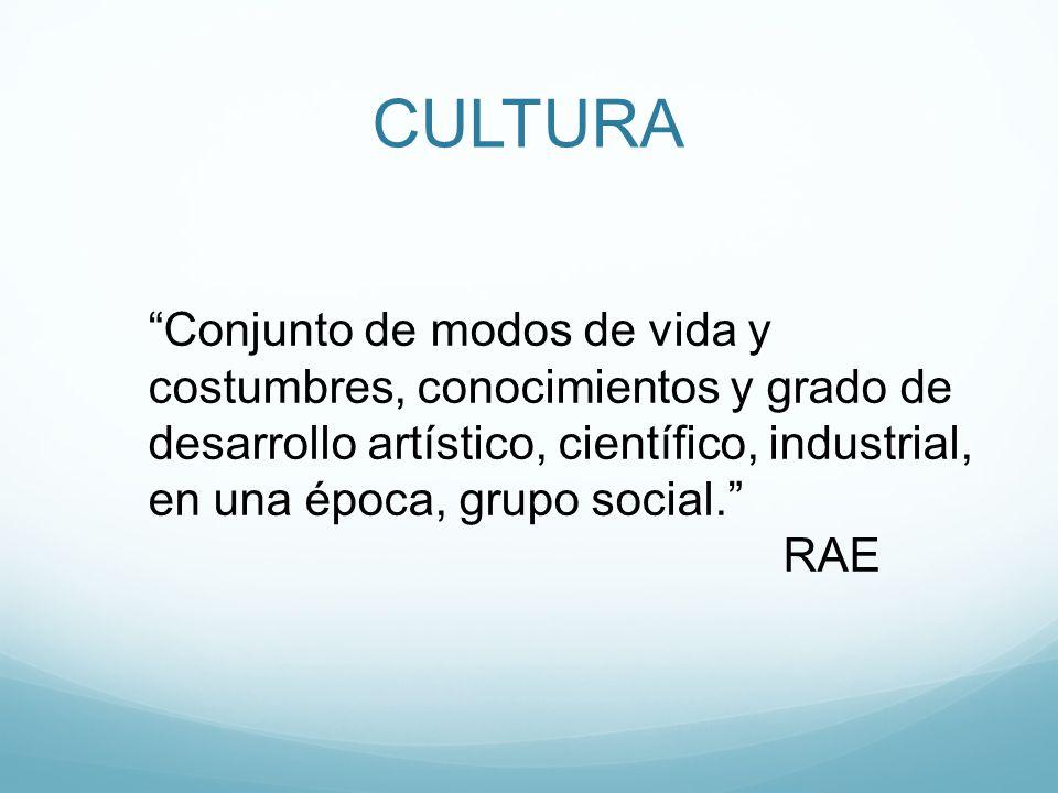Conjunto de modos de vida y costumbres, conocimientos y grado de desarrollo artístico, científico, industrial, en una época, grupo social. RAE CULTURA