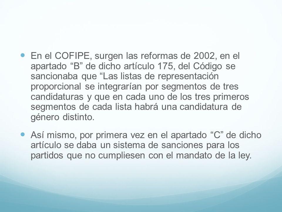 En el COFIPE, surgen las reformas de 2002, en el apartado B de dicho artículo 175, del Código se sancionaba que Las listas de representación proporcio
