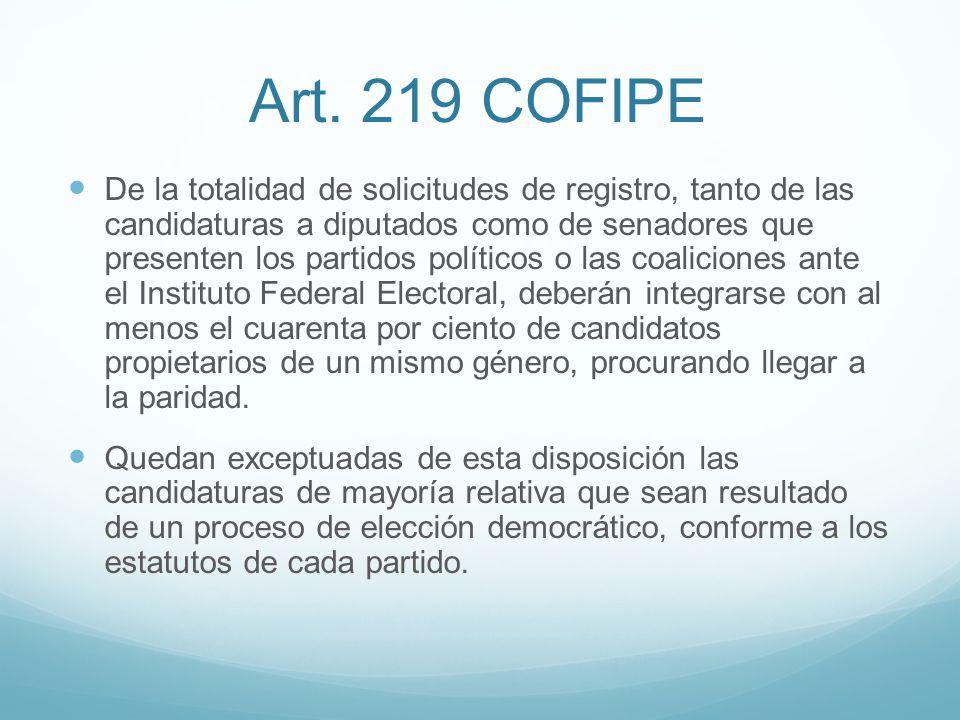 Art. 219 COFIPE De la totalidad de solicitudes de registro, tanto de las candidaturas a diputados como de senadores que presenten los partidos polític