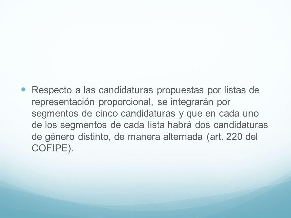Respecto a las candidaturas propuestas por listas de representación proporcional, se integrarán por segmentos de cinco candidaturas y que en cada uno