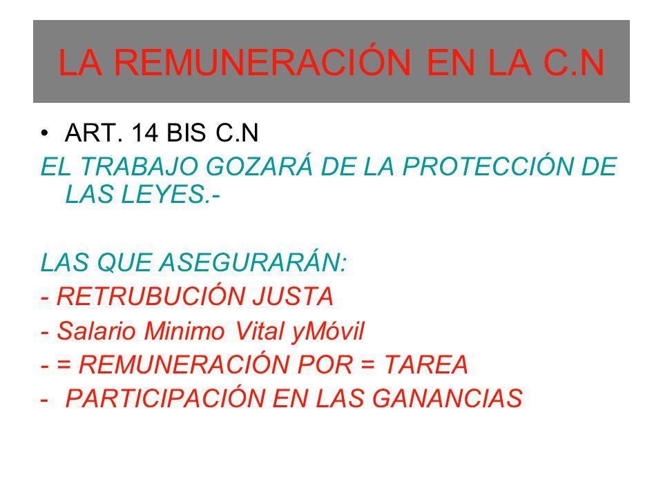 LA REMUNERACIÓN EN LA C.N ART. 14 BIS C.N EL TRABAJO GOZARÁ DE LA PROTECCIÓN DE LAS LEYES.- LAS QUE ASEGURARÁN: - RETRUBUCIÓN JUSTA - Salario Minimo V