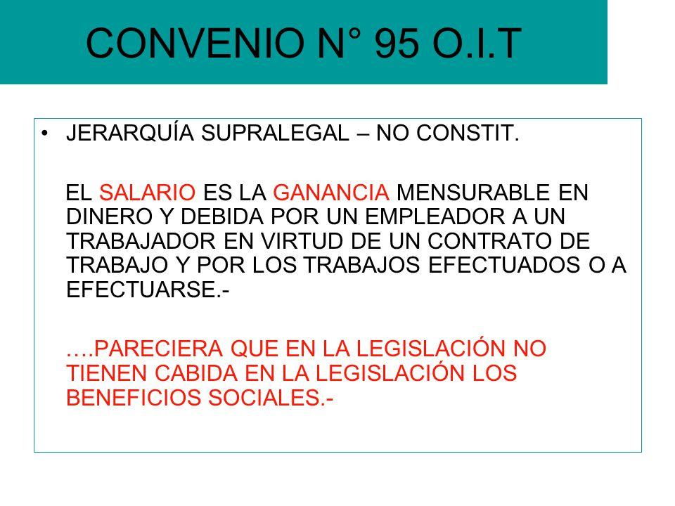 CONVENIO N° 95 O.I.T JERARQUÍA SUPRALEGAL – NO CONSTIT. EL SALARIO ES LA GANANCIA MENSURABLE EN DINERO Y DEBIDA POR UN EMPLEADOR A UN TRABAJADOR EN VI