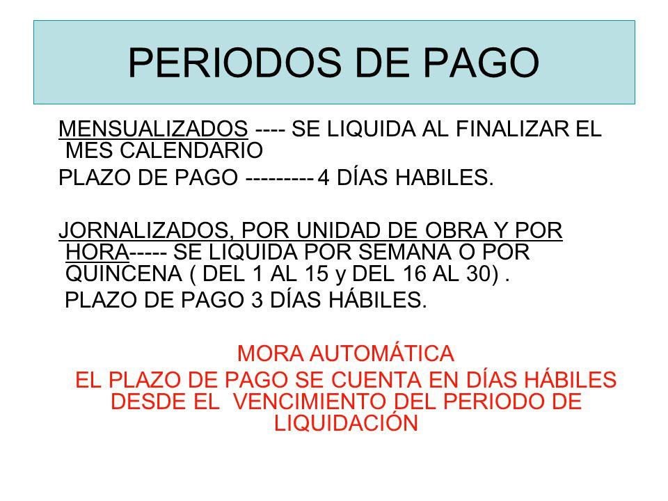 PERIODOS DE PAGO MENSUALIZADOS ---- SE LIQUIDA AL FINALIZAR EL MES CALENDARIO PLAZO DE PAGO --------- 4 DÍAS HABILES. JORNALIZADOS, POR UNIDAD DE OBRA