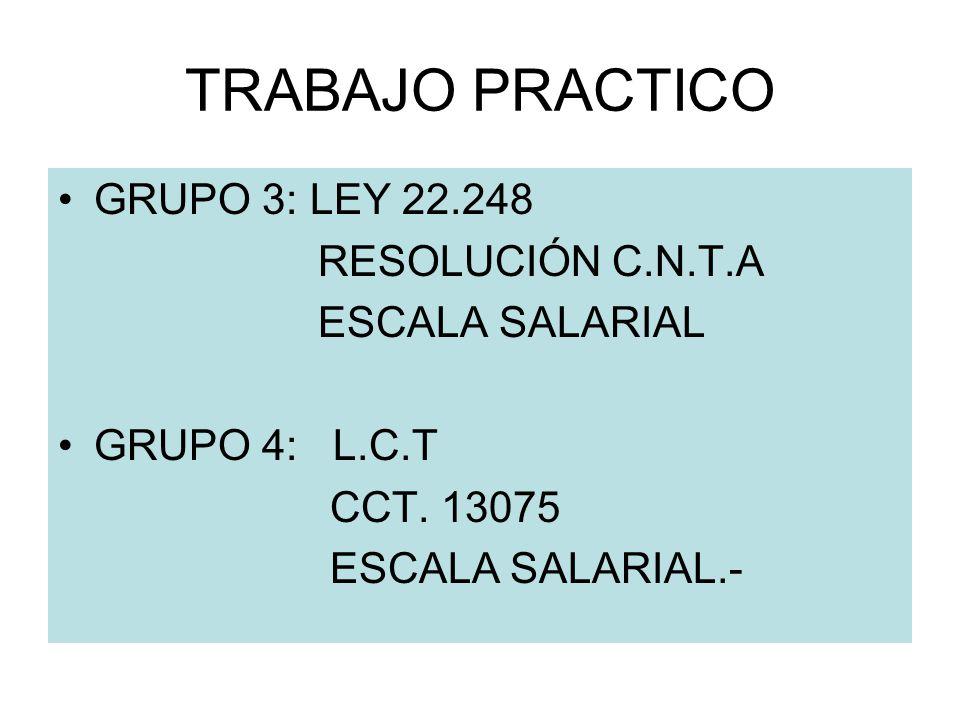 TRABAJO PRACTICO GRUPO 3: LEY 22.248 RESOLUCIÓN C.N.T.A ESCALA SALARIAL GRUPO 4: L.C.T CCT. 13075 ESCALA SALARIAL.-